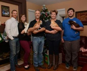 Rocket Dog Blog Family picture of 5 people, 1 cat and 3 chiahuahuas standing infront of a Christmas tree